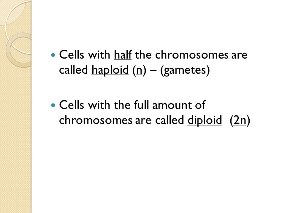 Cells with half the chromosomes are called haploid (n) – (gametes) Cells with the full amount of chromosomes are called diploid (2n)