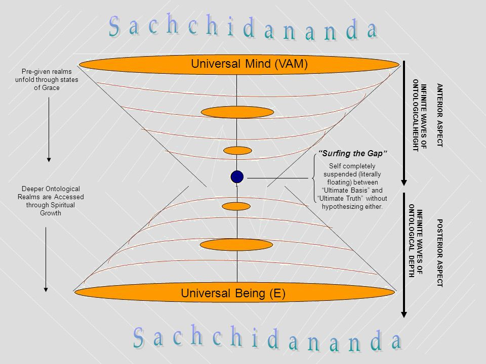 Universal Mind (VAM) Universal Being (E) INFINITE WAVES OF ONTOLOGICAL DEPTH POSTERIOR ASPECT INFINITE WAVES OF ONTOLOGICALHEIGHT ANTERIOR ASPECTPre-g