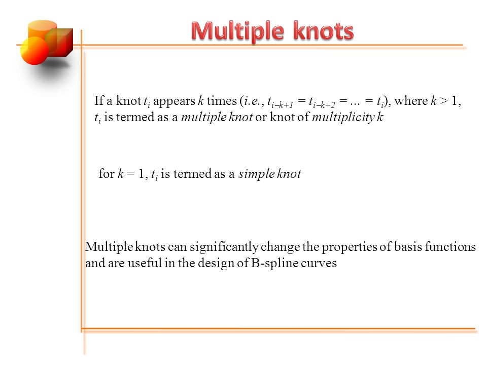 If a knot t i appears k times (i.e., t i  k+1 = t i  k+2 =...