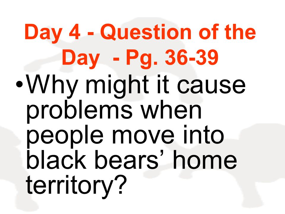 Day 4 - Question of the Day - Pg. 36-39 Why might it cause problems when people move into black bears' home territory?