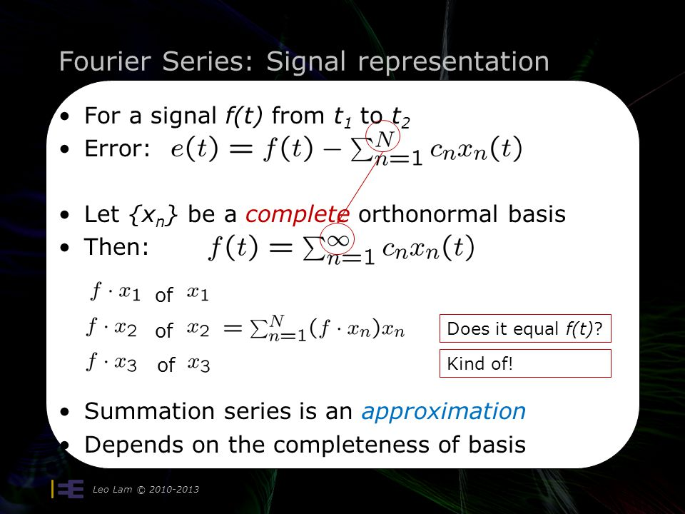 Fourier Series: Parseval's Theorem Leo Lam © 2010-2013 9 Compare to Pythagoras Theorem Parseval's Theorem Generally: c a b Energy of vector Energy of each of orthogonal basis vectors All x n are orthonormal vectors with energy = 1