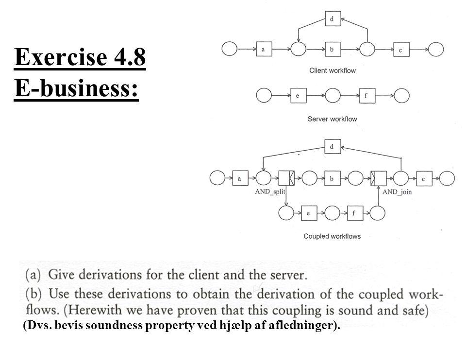 Exercise 4.8 E-business: (Dvs. bevis soundness property ved hjælp af afledninger).