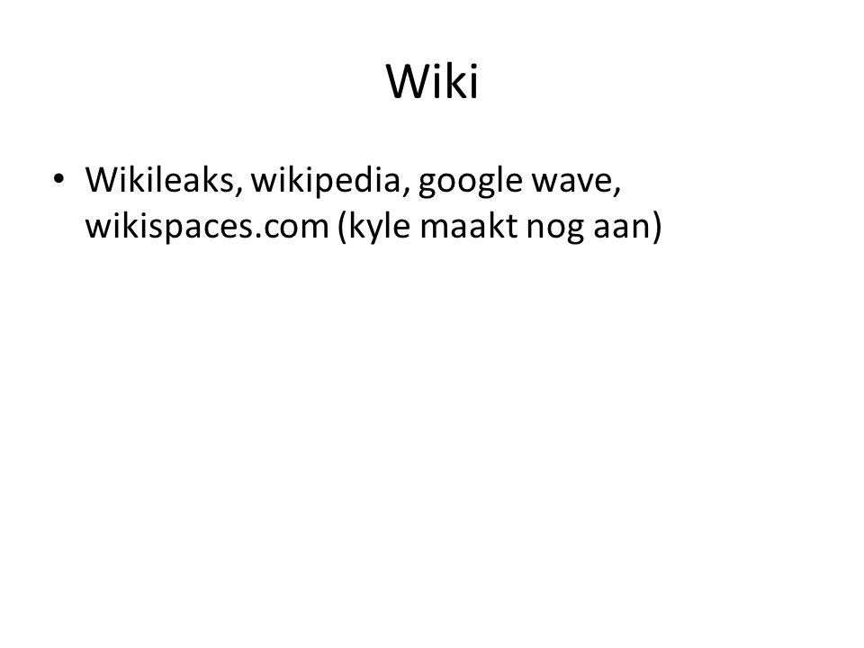 Wiki Wikileaks, wikipedia, google wave, wikispaces.com (kyle maakt nog aan)