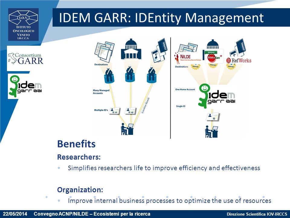 Direzione Scientifica IOV-IRCCS IDEM GARR: IDEntity Management Benefits Researchers: Simplifies researchers life to improve efficiency and effectivene