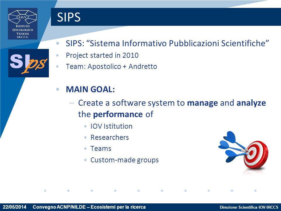 """Direzione Scientifica IOV-IRCCS SIPS SIPS: """"Sistema Informativo Pubblicazioni Scientifiche"""" Project started in 2010 Team: Apostolico + Andretto MAIN G"""