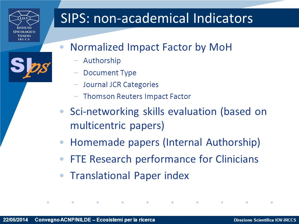 Direzione Scientifica IOV-IRCCS SIPS: non-academical Indicators Normalized Impact Factor by MoH –Authorship –Document Type –Journal JCR Categories –Th