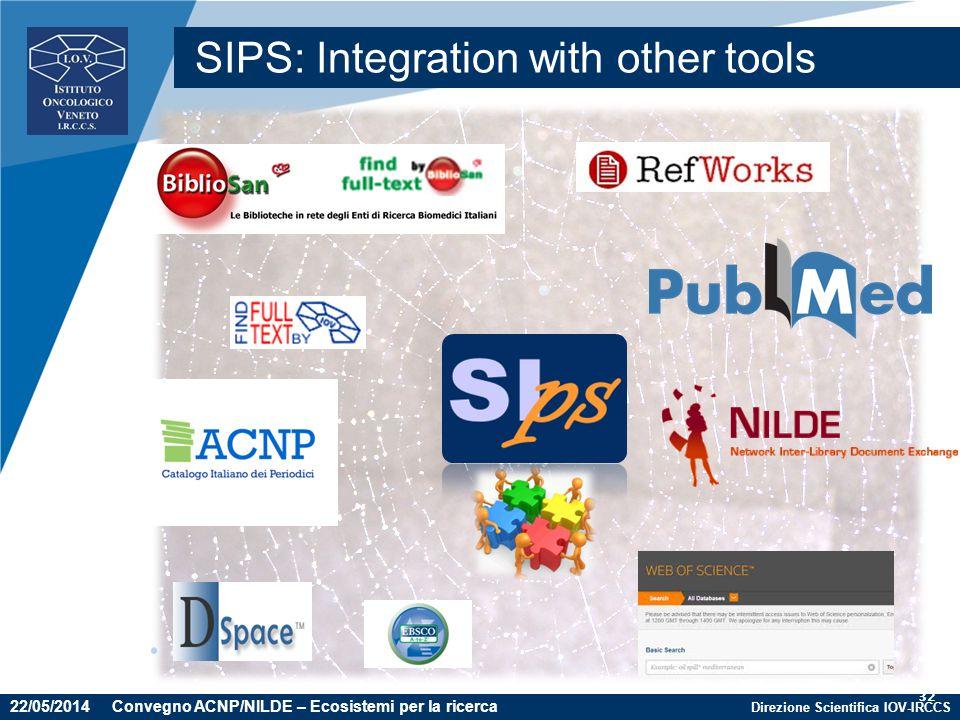 Direzione Scientifica IOV-IRCCS 32 SIPS: Integration with other tools 22/05/2014 Convegno ACNP/NILDE – Ecosistemi per la ricerca