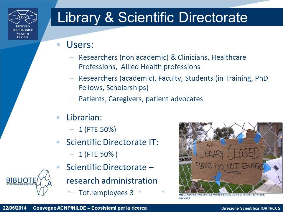 Direzione Scientifica IOV-IRCCS Users: –Researchers (non academic) & Clinicians, Healthcare Professions, Allied Health professions –Researchers (acade