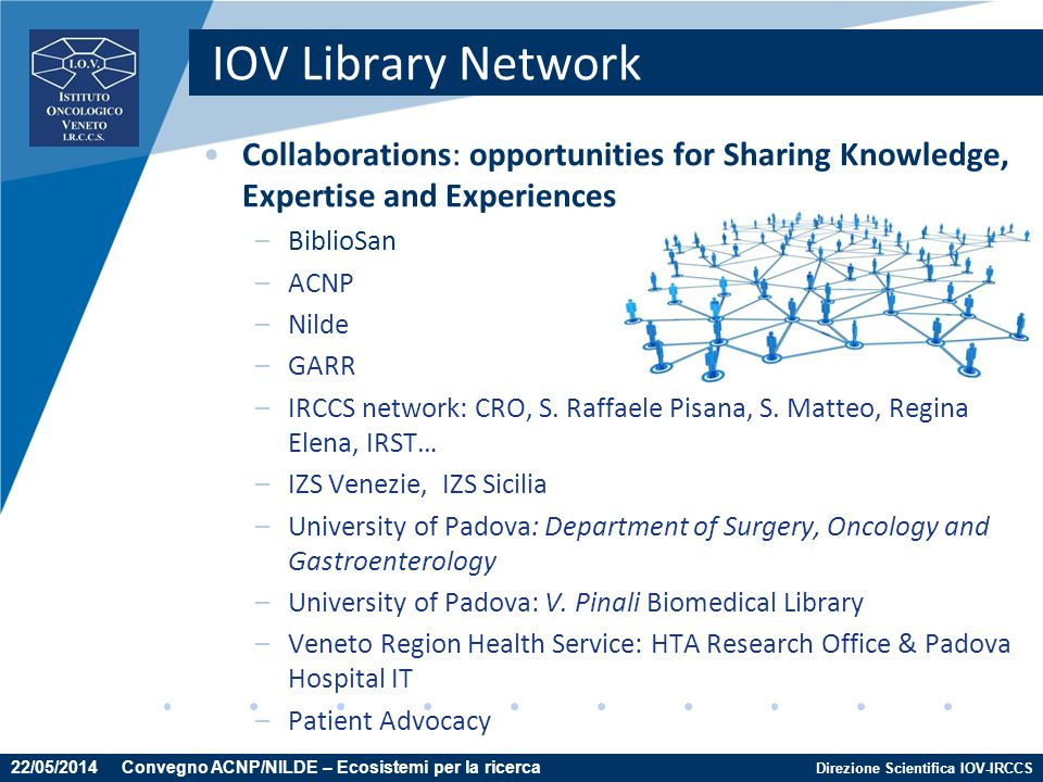 Direzione Scientifica IOV-IRCCS IOV Library Network Collaborations: opportunities for Sharing Knowledge, Expertise and Experiences –BiblioSan –ACNP –N