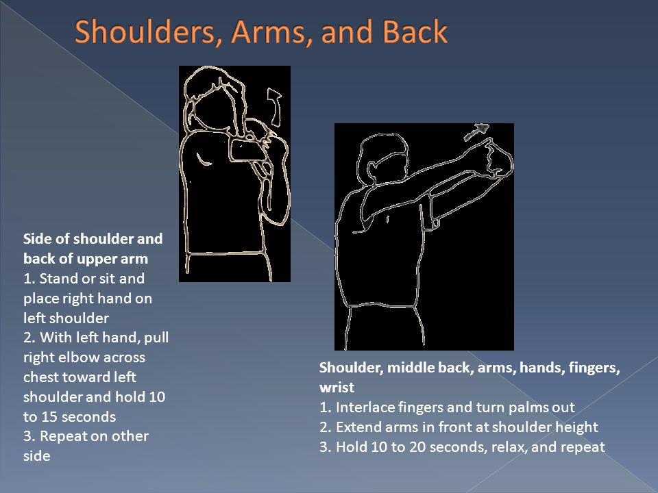 Side of shoulder and back of upper arm 1. Stand or sit and place right hand on left shoulder 2. With left hand, pull right elbow across chest toward l