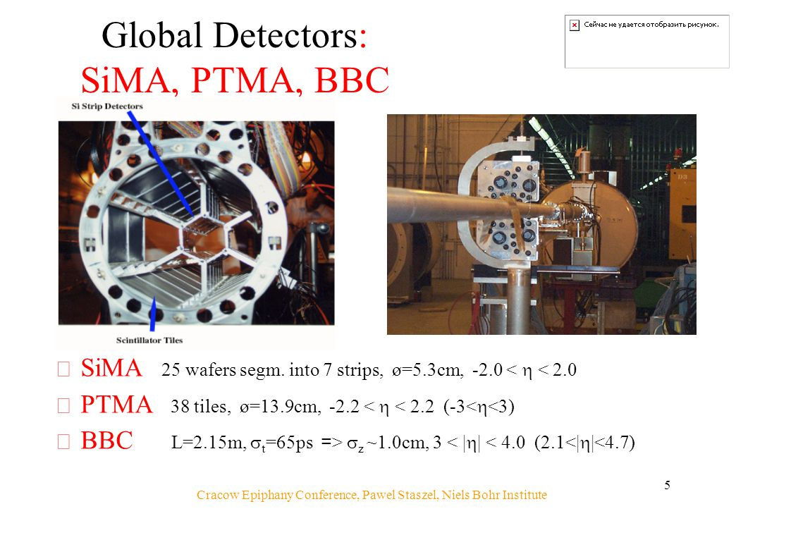 Cracow Epiphany Conference, Pawel Staszel, Niels Bohr Institute 5 Global Detectors: SiMA, PTMA, BBC  SiMA 25 wafers segm.