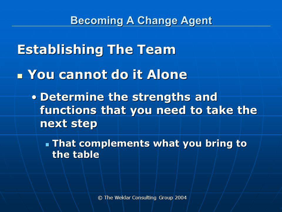 © The Weklar Consulting Group 2004 Becoming A Change Agent Establishing The Team You cannot do it Alone You cannot do it Alone Determine the strengths and functions that you need to take the next stepDetermine the strengths and functions that you need to take the next step That complements what you bring to the table That complements what you bring to the table