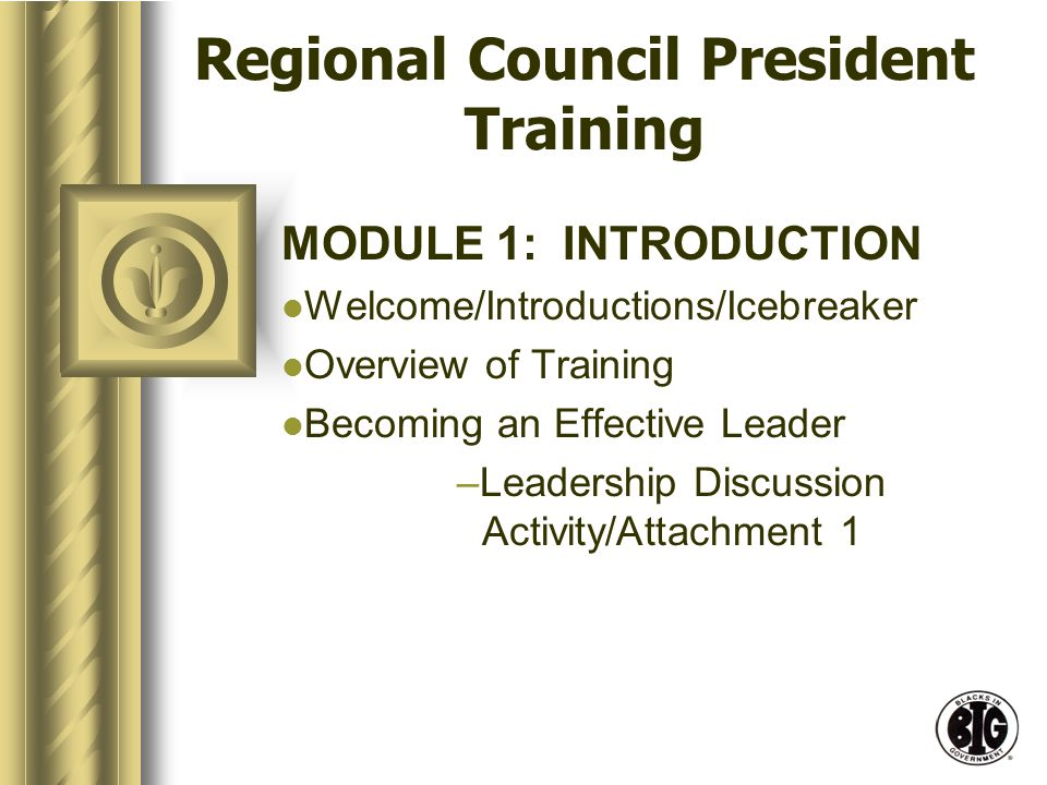 Regional Council President Training MODULE 1: INTRODUCTION Welcome/Introductions/Icebreaker Overview of Training Becoming an Effective Leader –Leadership Discussion Activity/Attachment 1