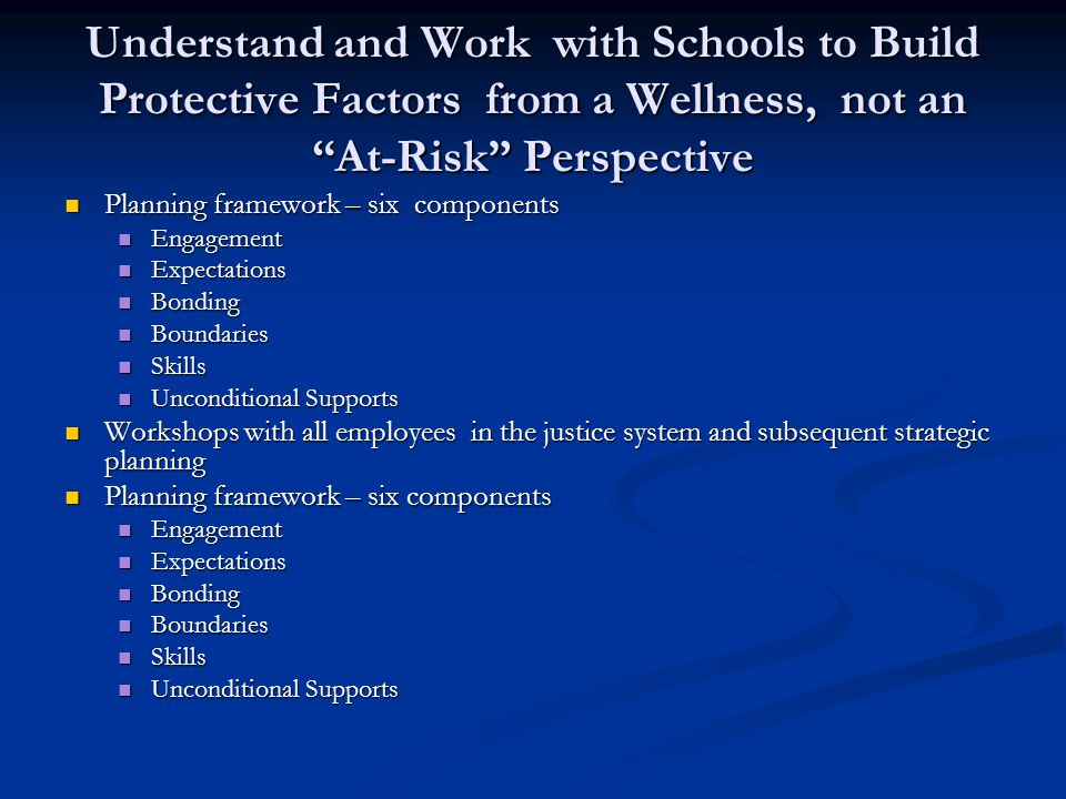 Understand and Work with Schools to Build Protective Factors from a Wellness, not an At-Risk Perspective Planning framework – six components Planning framework – six components Engagement Engagement Expectations Expectations Bonding Bonding Boundaries Boundaries Skills Skills Unconditional Supports Unconditional Supports Workshops with all employees in the justice system and subsequent strategic planning Workshops with all employees in the justice system and subsequent strategic planning Planning framework – six components Planning framework – six components Engagement Engagement Expectations Expectations Bonding Bonding Boundaries Boundaries Skills Skills Unconditional Supports Unconditional Supports