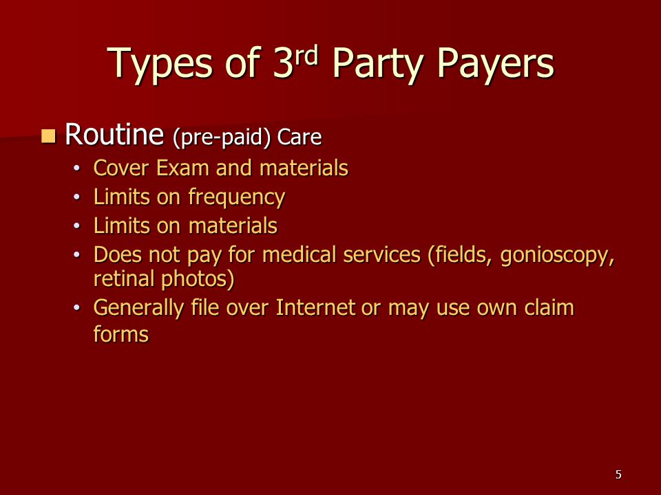 5 Types of 3 rd Party Payers Routine (pre-paid) Care Routine (pre-paid) Care Cover Exam and materials Cover Exam and materials Limits on frequency Limits on frequency Limits on materials Limits on materials Does not pay for medical services (fields, gonioscopy, retinal photos) Does not pay for medical services (fields, gonioscopy, retinal photos) Generally file over Internet or may use own claim forms Generally file over Internet or may use own claim forms