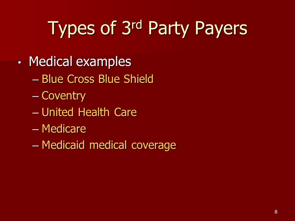 8 Types of 3 rd Party Payers Medical examples Medical examples – Blue Cross Blue Shield – Coventry – United Health Care – Medicare – Medicaid medical coverage