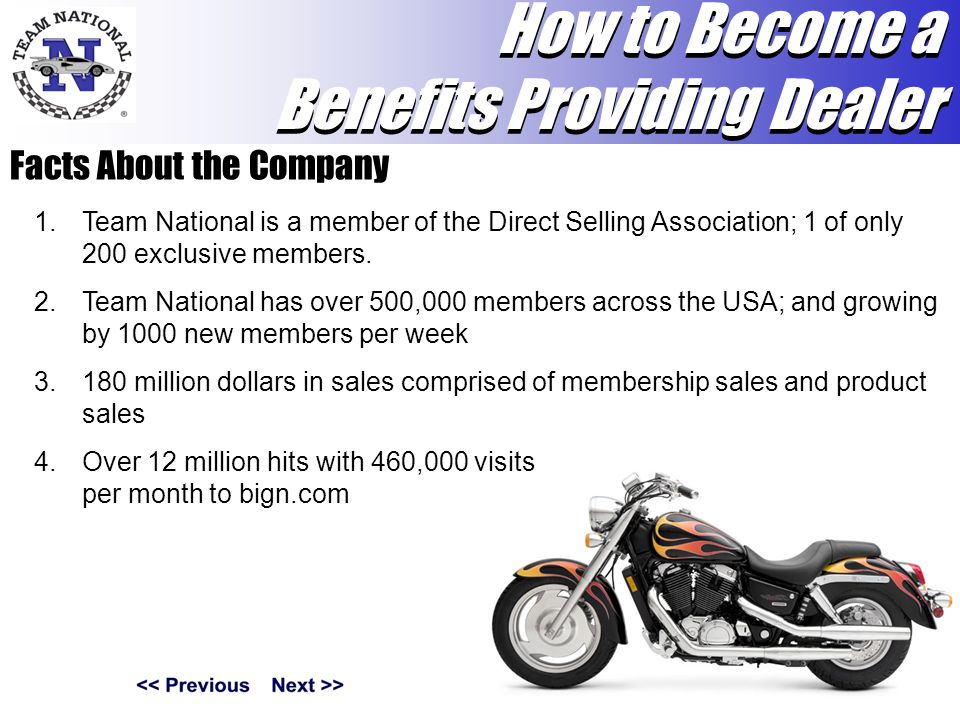 Facts About the Company 1.Team National is a member of the Direct Selling Association; 1 of only 200 exclusive members.