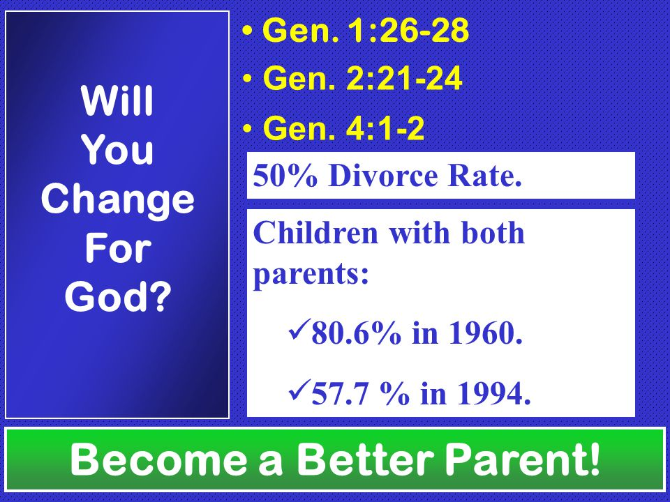 Gen. 1:26-28 Gen. 2:21-24 Gen. 4:1-2 50% Divorce Rate.