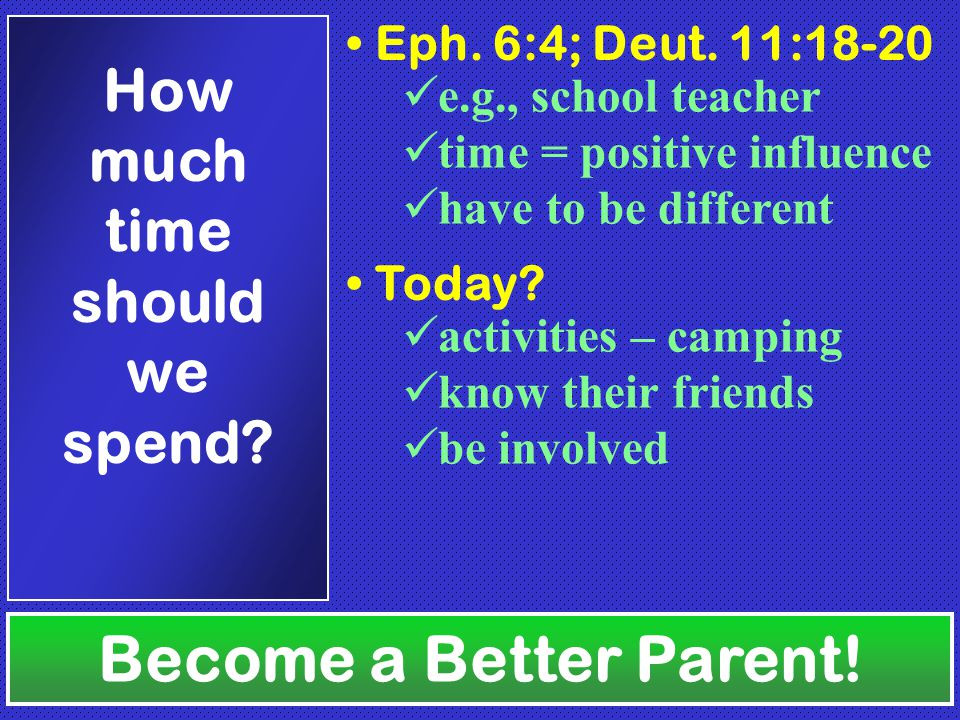 Become a Better Parent. How much time should we spend.