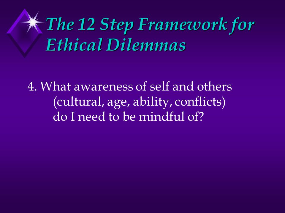 The 12 Step Framework for Ethical Dilemmas 4.