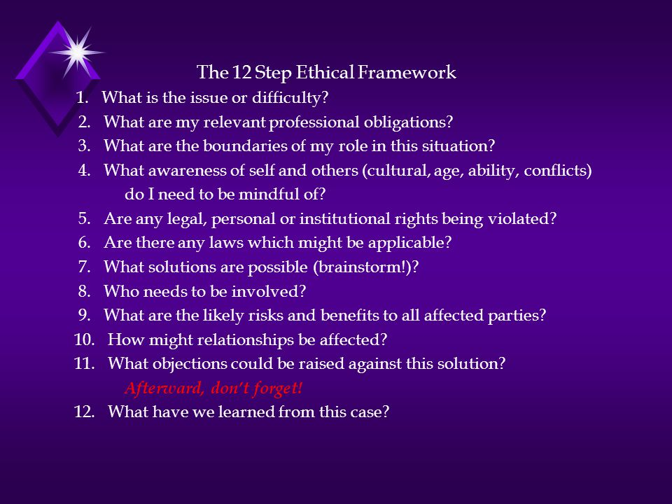 The 12 Step Ethical Framework 1. What is the issue or difficulty.