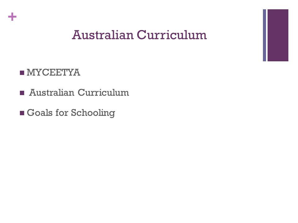 + Australian Curriculum MYCEETYA Australian Curriculum Goals for Schooling