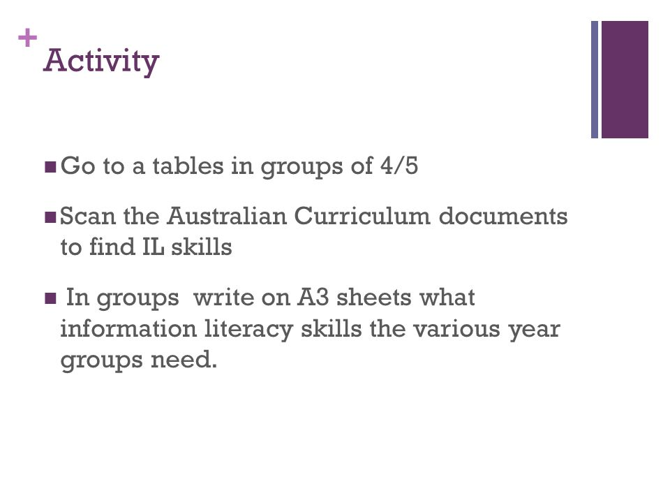 + Activity Go to a tables in groups of 4/5 Scan the Australian Curriculum documents to find IL skills In groups write on A3 sheets what information literacy skills the various year groups need.