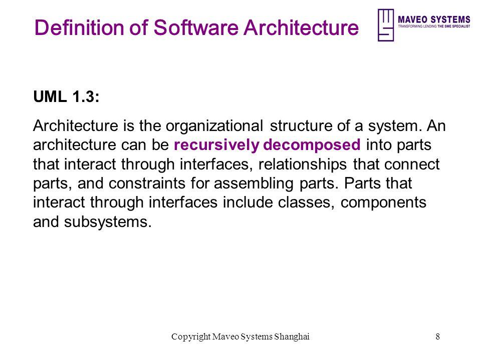 Copyright Maveo Systems Shanghai19 Principles of Good Architecture Scalable Flexible Extensible Reusable Open Common semantics Secure