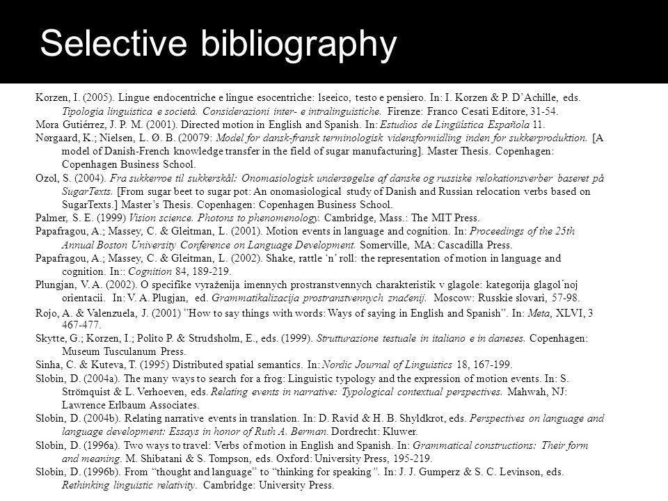 Korzen, I. (2005). Lingue endocentriche e lingue esocentriche: lseeico, testo e pensiero.