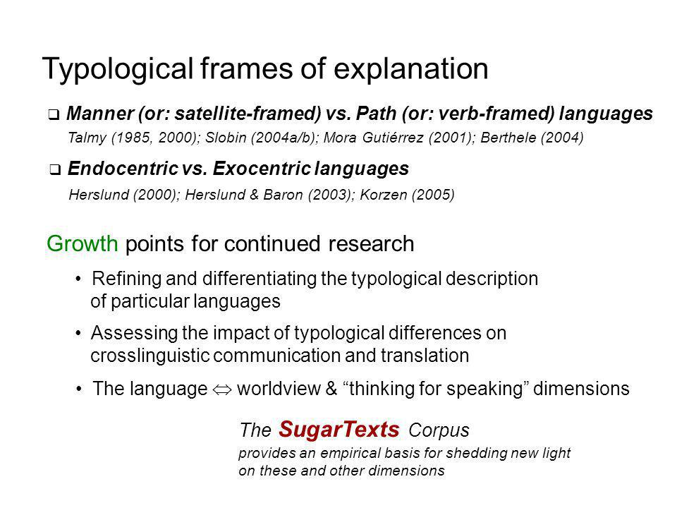 Typological frames of explanation  Manner (or: satellite-framed) vs.