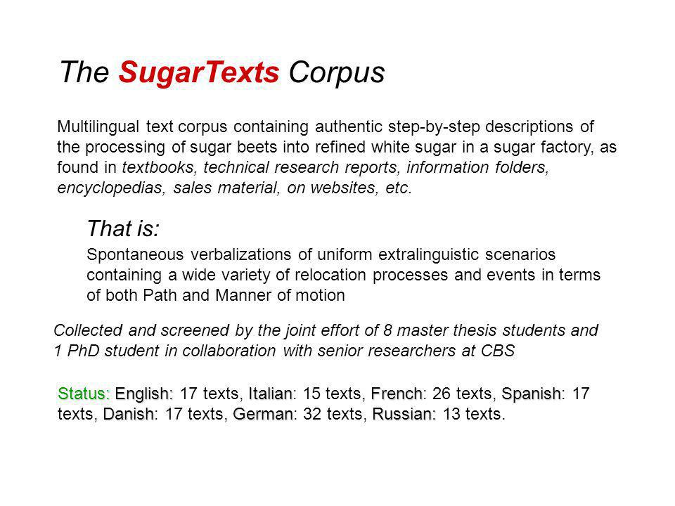 The SugarTexts Corpus Multilingual text corpus containing authentic step-by-step descriptions of the processing of sugar beets into refined white sugar in a sugar factory, as found in textbooks, technical research reports, information folders, encyclopedias, sales material, on websites, etc.