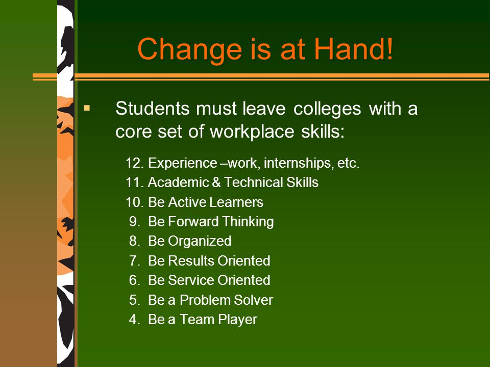 Change is at Hand.  Students must leave colleges with a core set of workplace skills: 12.