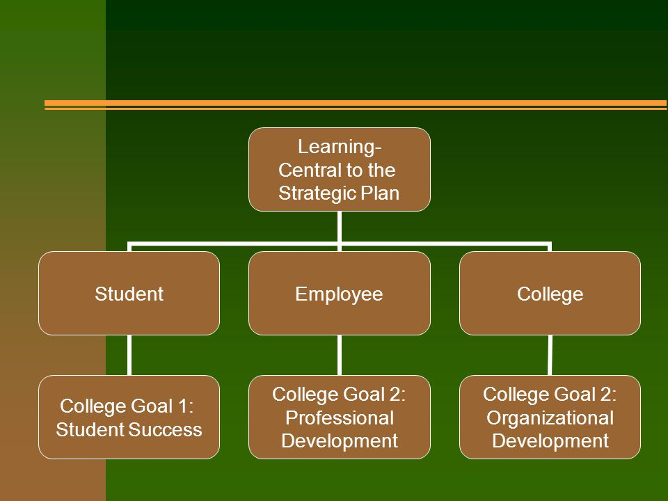 Learning- Central to the Strategic Plan Student College Goal 1: Student Success Employee College Goal 2: Professional Development College College Goal 2: Organizational Development