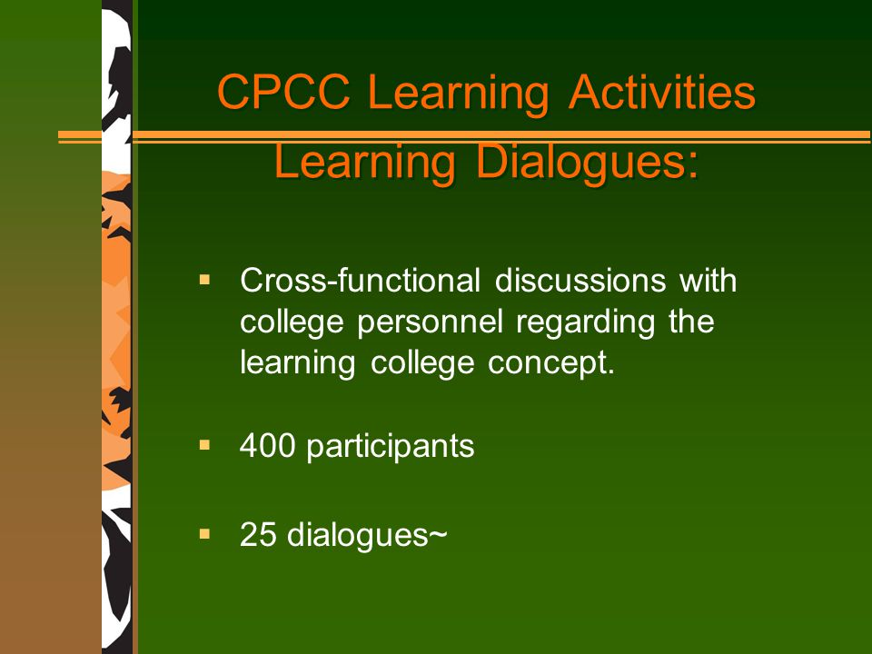 CPCC Learning Activities Learning Dialogues:  Cross-functional discussions with college personnel regarding the learning college concept.
