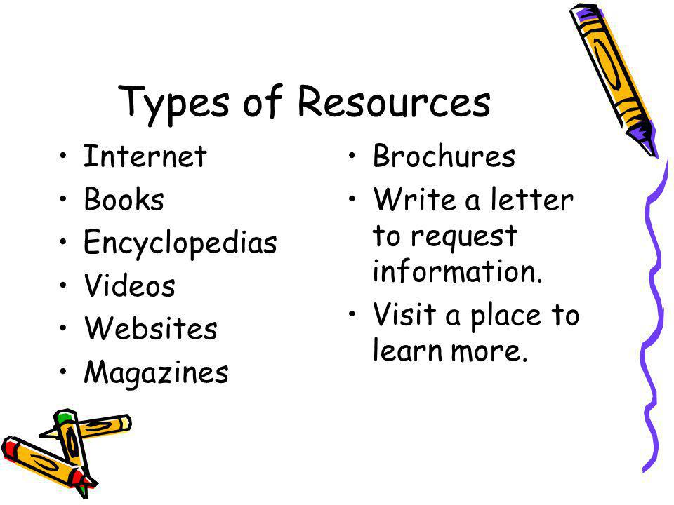 Types of Resources Internet Books Encyclopedias Videos Websites Magazines Brochures Write a letter to request information. Visit a place to learn more