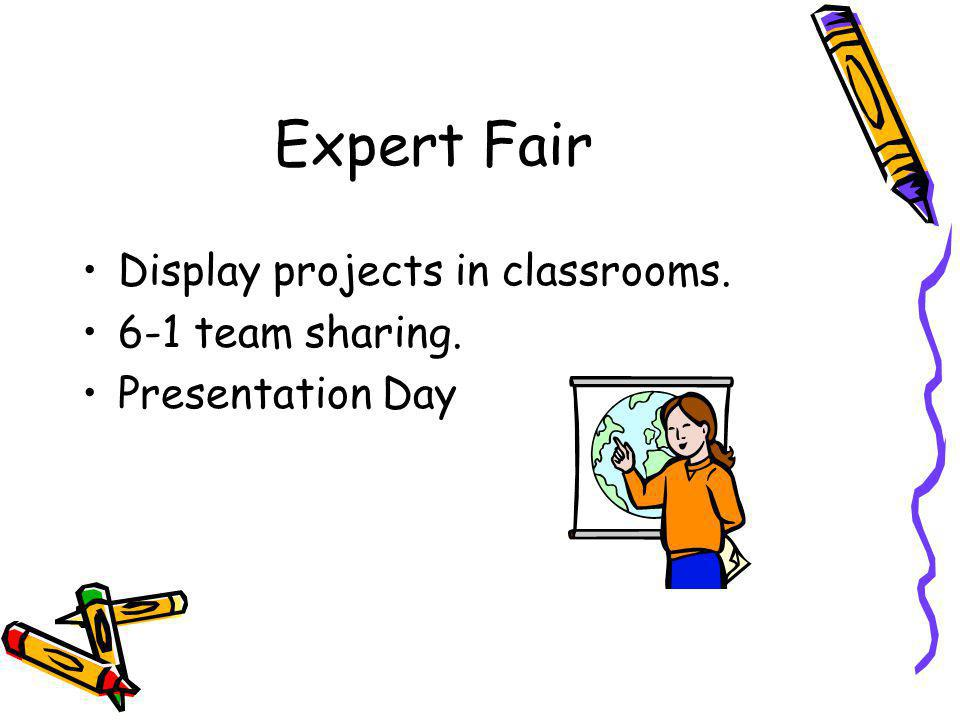 Expert Fair Display projects in classrooms. 6-1 team sharing. Presentation Day