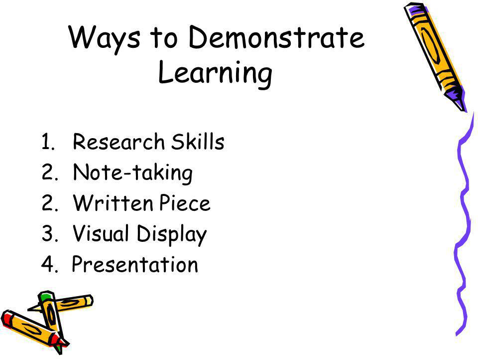 Ways to Demonstrate Learning 1.Research Skills 2.Note-taking 2. Written Piece 3. Visual Display 4. Presentation