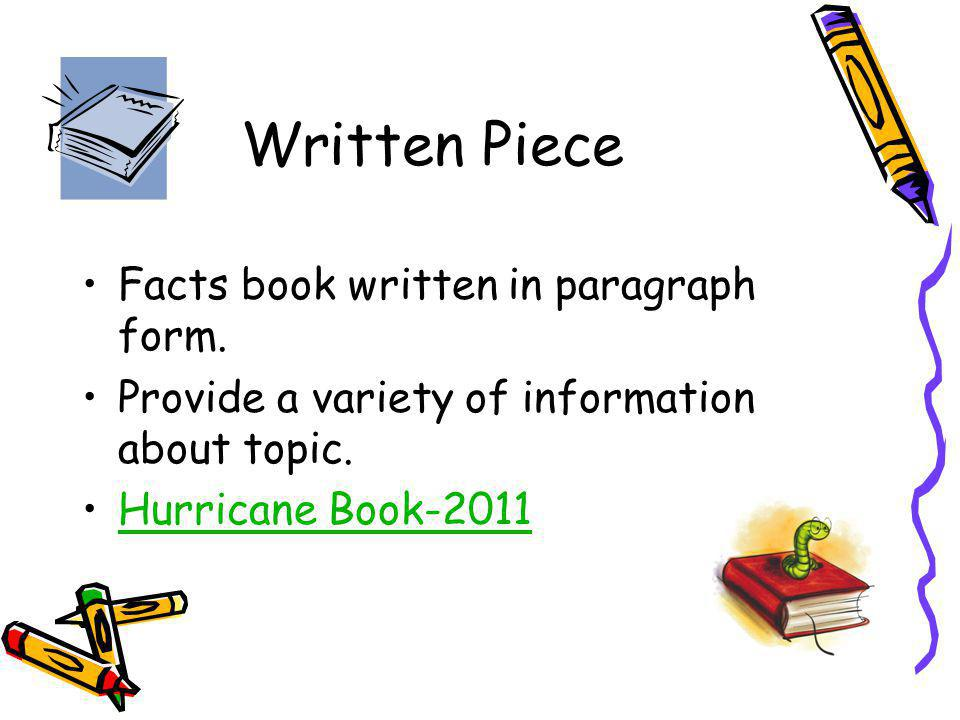 Written Piece Facts book written in paragraph form. Provide a variety of information about topic. Hurricane Book-2011