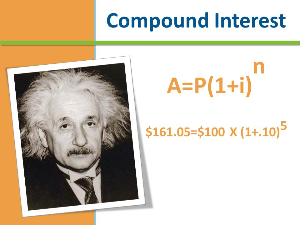 Compound Interest A=P(1+i) n $161.05=$100 X (1+.10) 5