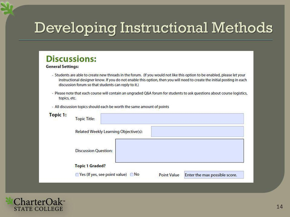 Developing Instructional Methods 14