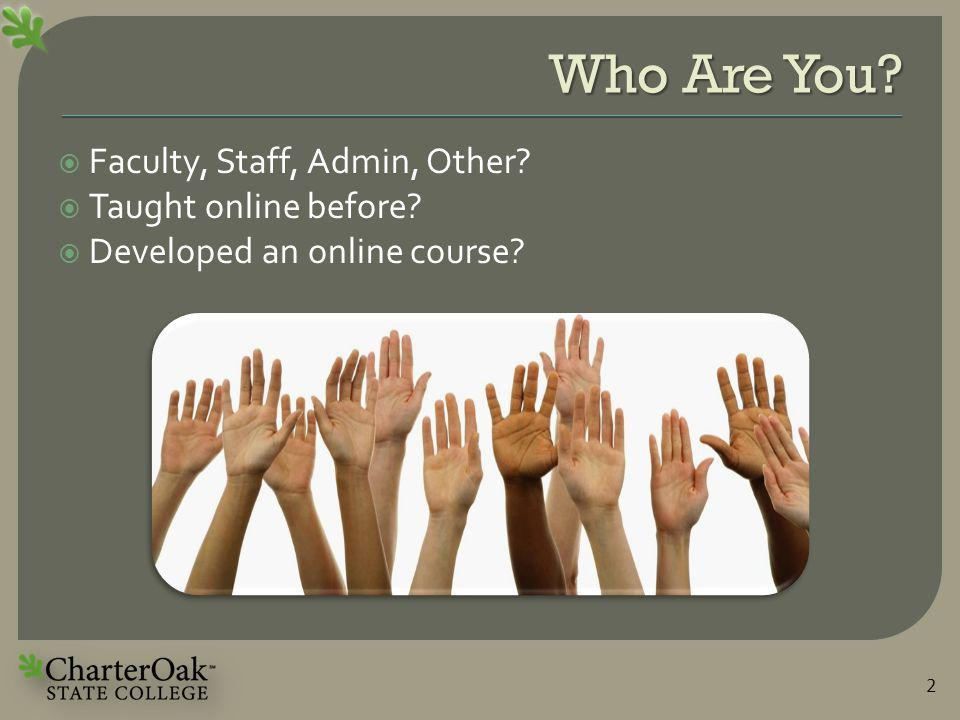 Who Are You.  Faculty, Staff, Admin, Other.  Taught online before.