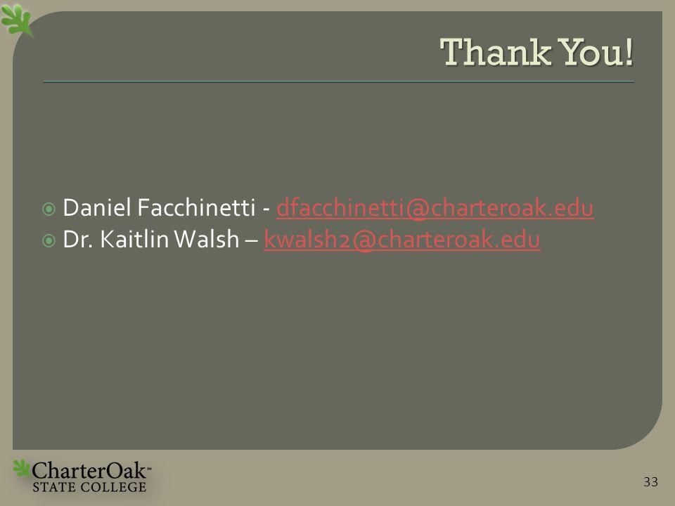 Thank You.  Daniel Facchinetti - dfacchinetti@charteroak.edudfacchinetti@charteroak.edu  Dr.