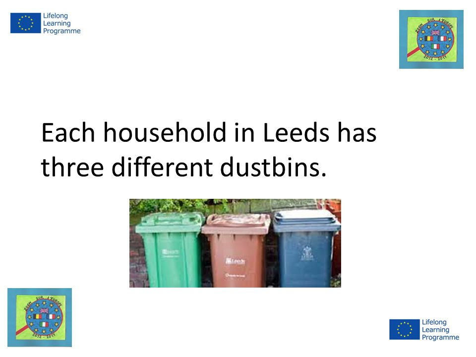 Each household in Leeds has three different dustbins.