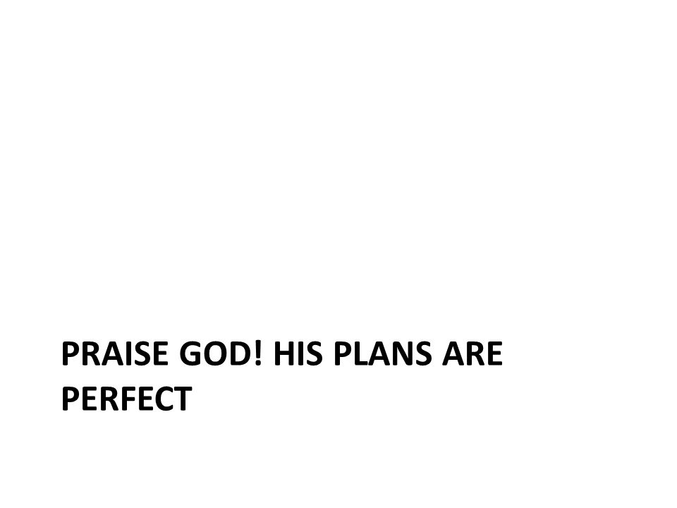 PRAISE GOD! HIS PLANS ARE PERFECT