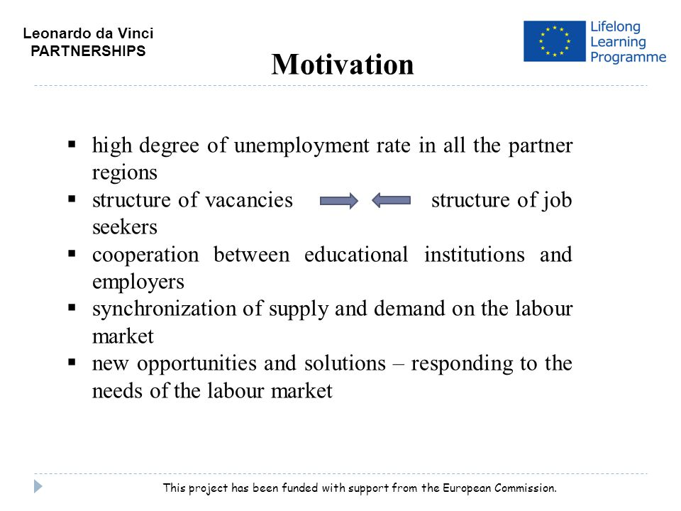 Motivation  high degree of unemployment rate in all the partner regions  structure of vacancies structure of job seekers  cooperation between educational institutions and employers  synchronization of supply and demand on the labour market  new opportunities and solutions – responding to the needs of the labour market Leonardo da Vinci PARTNERSHIPS This project has been funded with support from the European Commission.