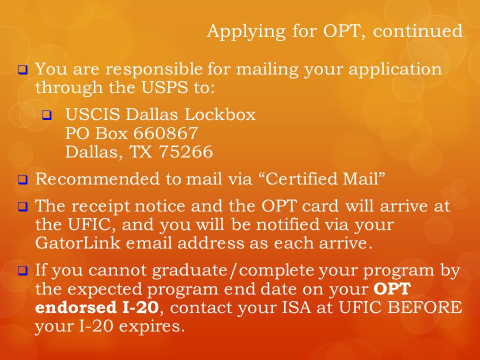  You are responsible for mailing your application through the USPS to:  USCIS Dallas Lockbox PO Box 660867 Dallas, TX 75266  Recommended to mail vi