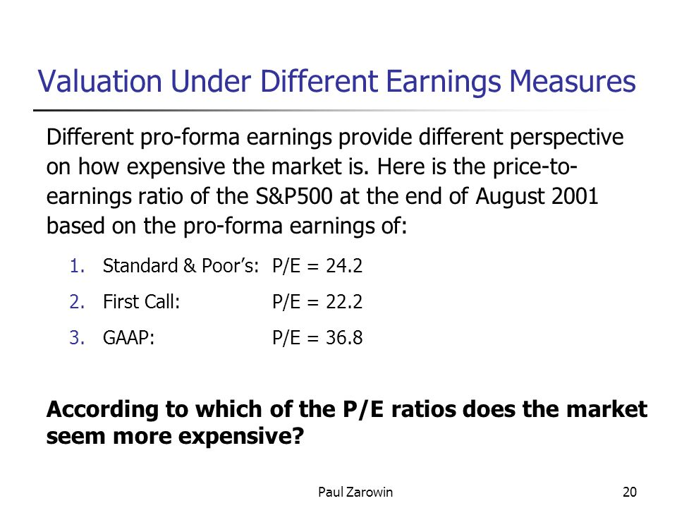 Paul Zarowin20 Valuation Under Different Earnings Measures Different pro-forma earnings provide different perspective on how expensive the market is.