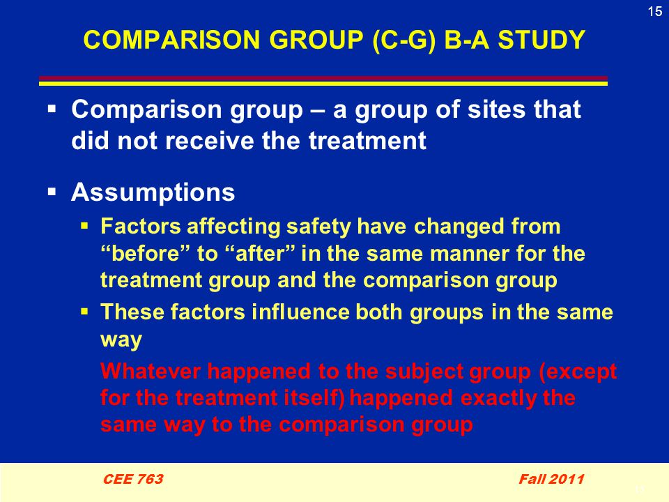 15 CEE 763 Fall 2011 15 COMPARISON GROUP (C-G) B-A STUDY  Comparison group – a group of sites that did not receive the treatment  Assumptions  Factors affecting safety have changed from before to after in the same manner for the treatment group and the comparison group  These factors influence both groups in the same way Whatever happened to the subject group (except for the treatment itself) happened exactly the same way to the comparison group