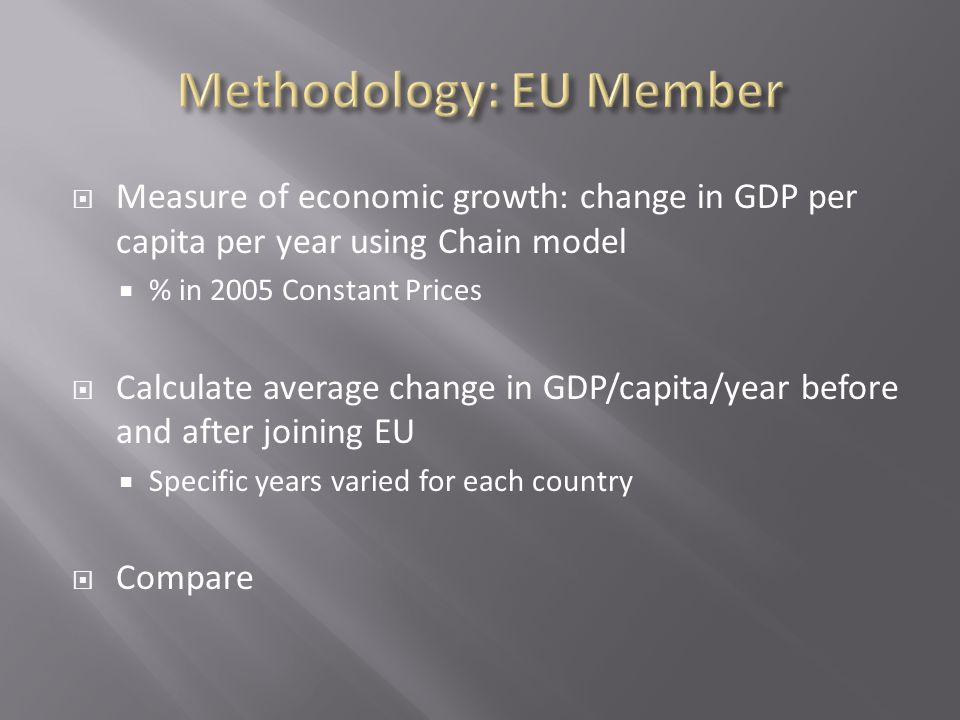  Measure of economic growth: change in GDP per capita per year using Chain model  % in 2005 Constant Prices  Calculate average change in GDP/capita/year before and after joining EU  Specific years varied for each country  Compare