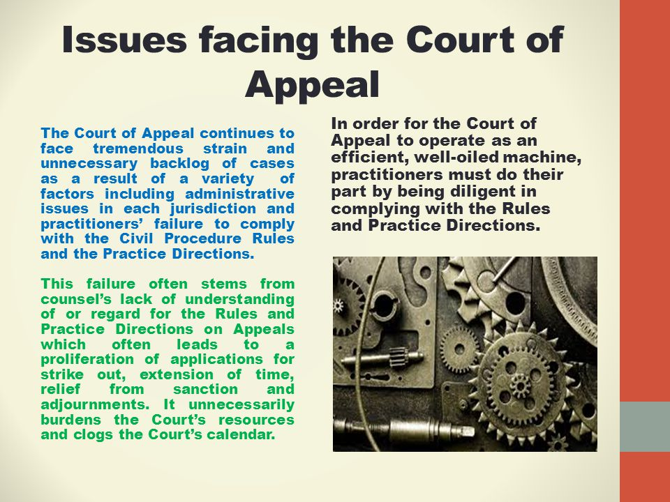 Issues facing the Court of Appeal The Court of Appeal continues to face tremendous strain and unnecessary backlog of cases as a result of a variety of factors including administrative issues in each jurisdiction and practitioners' failure to comply with the Civil Procedure Rules and the Practice Directions.